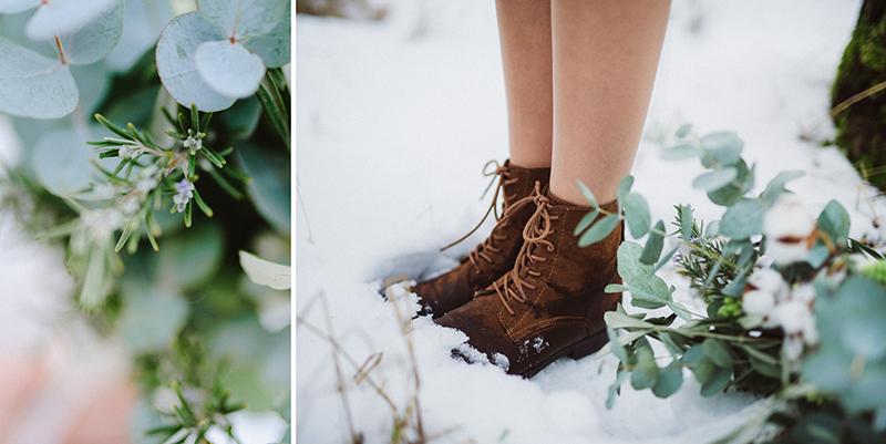 Boots Schuhe Winterbraut im Schnee mit Brautstrauß
