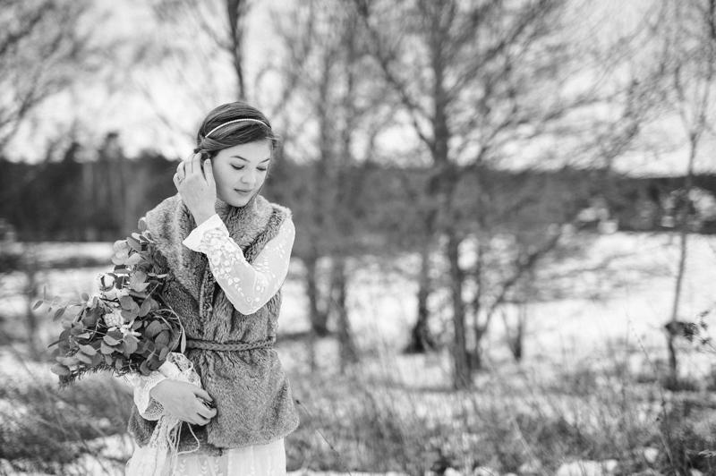 Winterbraut mit Fellweste